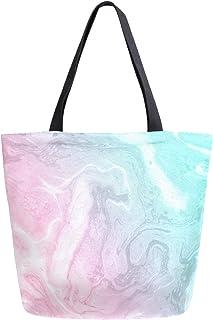 Mnsruu Mnsruu Einkaufstasche aus Segeltuch, wiederverwendbar, Schulter-/Handtasche, Pink und Grün, Marmor, abstrakt, Reisetasche, für Damen und Mädchen
