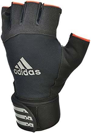 Adidas Unisex Adult Adgb-12345sw Striped Wrist Short Fingered Weight Lift Gloves, Black, 2X-Large