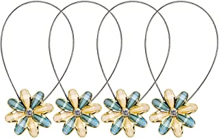Sumnacon 2 Pairs Curtain Magnetic Tieback Flower Curtain Clips Buckle for Home Office Decoration Blue