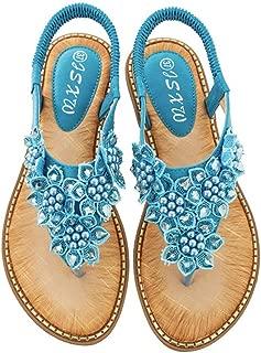 Women Bohemian Flats Sandals Summer Beach Ankle Strap Slingback Flip Flop Shoes