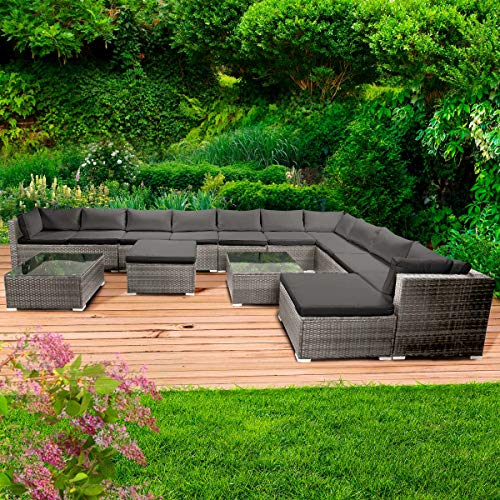 BRAST Poly-Rattan Gartenmöbel Lounge Set 15 Modelle 3 Farben 4-12 Personen Aluminium Sitzgruppe Dreams Grau