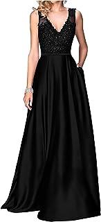 فساتين حفلات سوداء طويلة من LittleStar لعام 2019 للنساء برقبة على شكل حرف V فستان وصيفة العروس