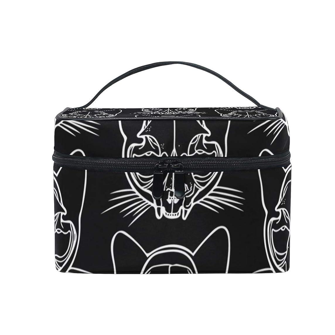囲まれたバルセロナロケーションメイクボックス 猫の頭蓋骨キティペット柄 化粧ポーチ 化粧品 化粧道具 小物入れ メイクブラシバッグ 大容量 旅行用 収納ケース