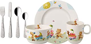 Villeroy & Boch Hungry as a Bear Service de table pour enfants, 7 unités, Porcelaine Premium/Acier inoxydable, Blanc/Multi...