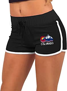 Colorado State Mountain Flag Womens Running Workout Shorts Athletic Elastic Waist Hot Pants