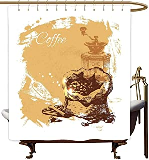 MaryMunger Custom Shower Curtain Coffee Vintage Sketch Art an Antique Mill and Bag of Beans with Cinnamon Sticks Shower Curtains in Bath W55x84L Brown Pale Brown White