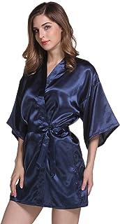 776ba41f58 Peignoir Satin Robe de Chambre Kimono Femme Sortie de Bain Nuisette  Déshabillé Vêtements de Nuit Femme