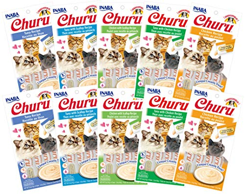 INABA Churu Lickable Creamy Purée Cat Treats 5 Flavor Variety Pack of 40 Tubes