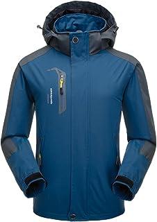 Oweisong Men Hooded Waterproof Raincoat Outdoor Hiking Windproof Softshell Jacket Sportswear Windbreaker