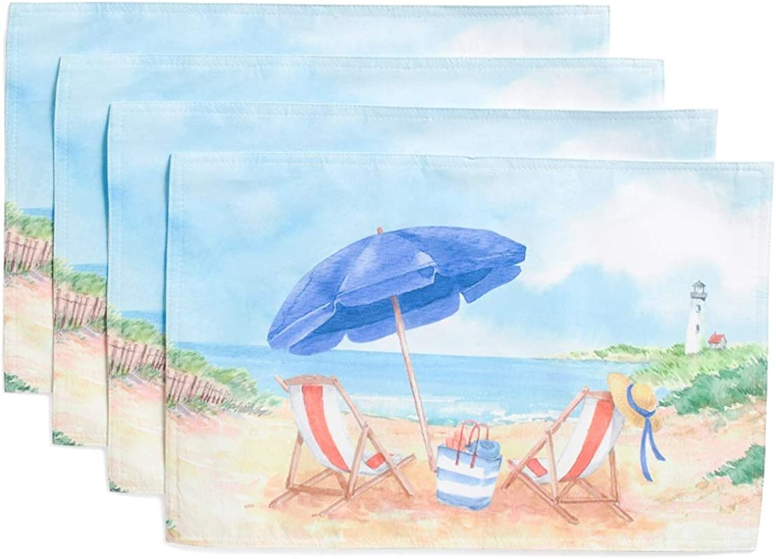 Tommy Bahama Beautiful Day At The Beach Set Of 4 Table Placemats