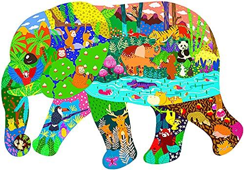 ANDSTON Puzzle de 200 piezas para niños y adultos, puzles para niños a partir de 3,5 años, puzle de 200 piezas de animales | elefante | forma única, entretenimiento juguete regalo hogar decoración