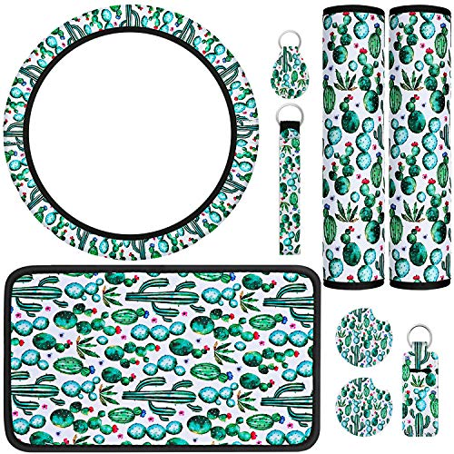 9 Pieces Universal Cactus Car Accessories, include Cactus Car Steering Wheel Cover, Car Shoulder Pads, Center Console Armrest Pad Cover, Car Coasters, Key Chain and Lip Balm Holder for Car Decorative
