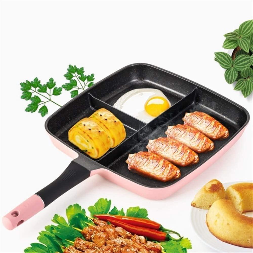 Facile 3 Dans 1 antiadhésives Petit déjeuner Frying Pan Hamburger Sandwich Maker Omelette Steak Marmite multifonctions Batterie de cuisine Distribution (Color : Red) Pink