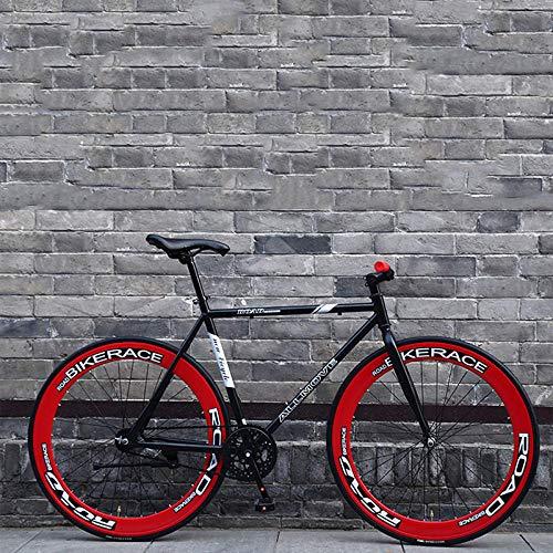 Fahrrad Fahrrad Mountainbikes hometrainer fahrrad elektrisches Fahrrad Mountain Road Bike Fixed Gear 26 Zoll Single Speed Retro Frame Mann und Frau Studenten Adult Bicycle-Schwarz Rot_26inch