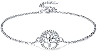 Lydreewam árbol de la Vida Tobilleras Pulseras Plata de Ley 925 para Mujer Verano Descalzo Playa, Ajustable 22+4cm