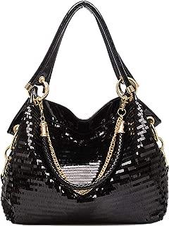 Women Patent Leather Chain Handbags Large Shoulder Bags for Ladies Sequin Purse