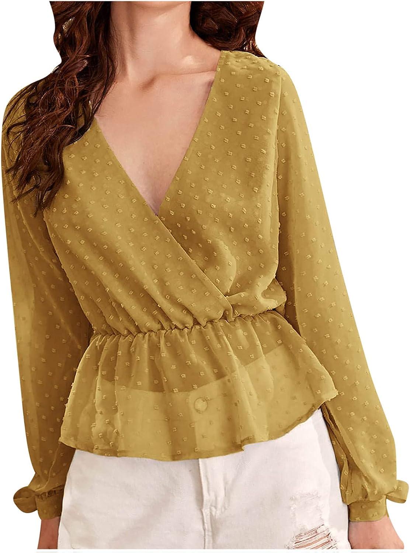 Akklian Long Sleeve Shirts for Women Autumn Casual Plain Pom Poms Sexy V-Neck Fashion Trendy Tops Blouses Tee T Shirts