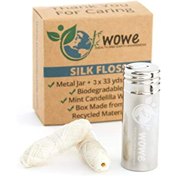 Wowe Natural Biodegradable Peace Silk Dental Floss with Candelilla Wax, Refillable Stainless Steel Container and 3 Refills - 6 Month Supply, 99 Yards Total… (Natural Mint)