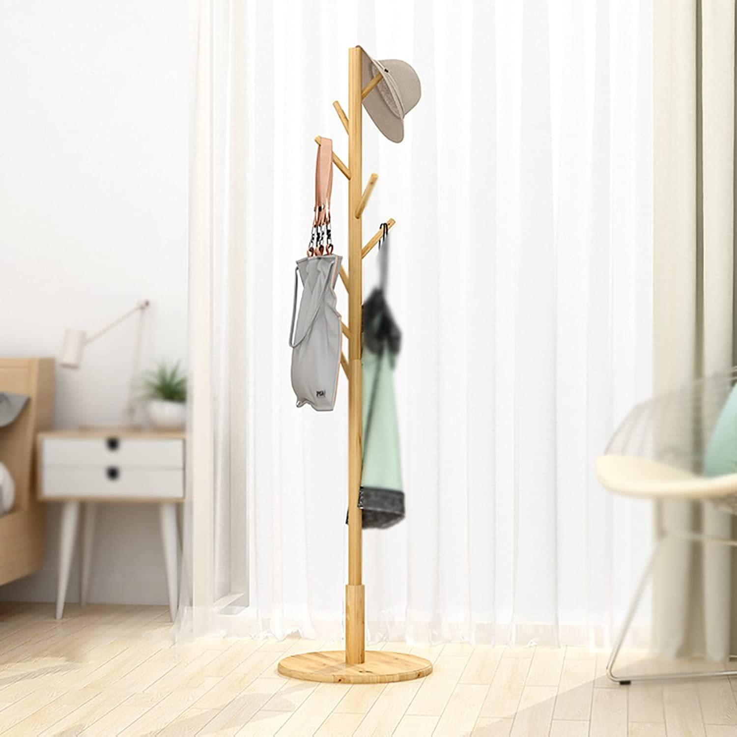 JPYMJ Wooden Coat Stand 8 Hooks Hat and Coat Rack Free Standing Tree Clothes Rail Hanging Storage Organiser for Entryway Hallway Bedroom Closet Wardrobe 161 cm (color   C)