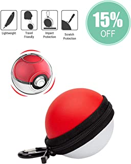 Carrying Case and Clear case for Nintendo Switch Poke Ball Plus Controller, Accessory for Pokémon Lets Go Pikachu Eevee Game (Carrying Case+Clear Case+Carabiner)