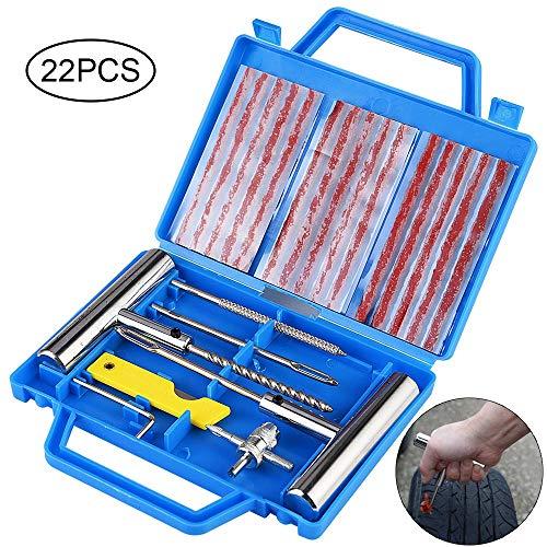 Faburo 22PCS Kit de Réparation de Pneu, Kit de Reparation avec Gants Jetables, Tubeless Roue...