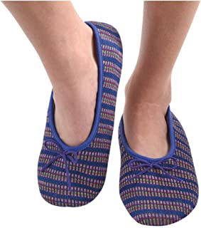 Snoozies Womens Multi Wavy Knit Ballet Non-Skid Slipper Socks - Blue, Extra-Large