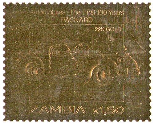 Zambia : Automobiles : i primi 100 anni - Packard/foglia oro Valore bollo/facciale 1,50 K / 22K oro Folio / 1987 / Zambia/MNH
