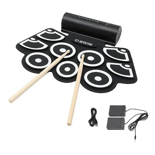 Hizek Batterie électronique portable et pliable 7tambours avec 2 pédales et baguettes pour débutants et enfants Built-in Speaker