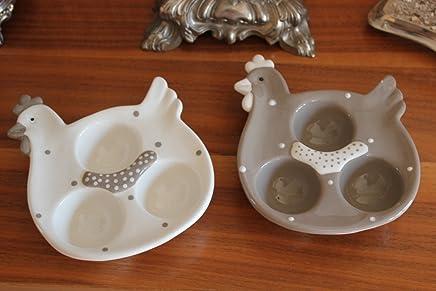 Preisvergleich für 2 Stück Eierteller/Eierbecher (Servierteller), Osterteller Huhn für 3 Eier aus Keramik 12 x 15 cm