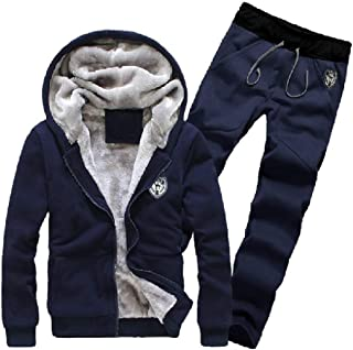 Howely Mens Hooded Sports Fleece Relaxed Fit 2-Piece Thickened Sweatsuit Set