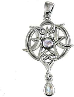 Sterling Silver Small Celtic Knot Heart Pentacle Pendant with Natural Rainbow Moonstone