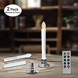 Window Candles Battery Operated with Remote Timers Flickering Flameless Led Electric Candle Lights with Removable Tapers Pillar Candle Holders for Christmas Decorations 2pcs Silver Base