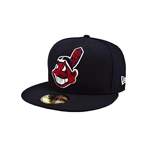 New Era 59Fifty Men s Cleveland Indians Navy Blue MLB Baseball Fitted Cap 291de572b