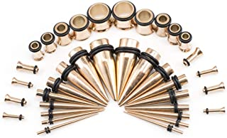 BodyJewelryOnline Ear Stretching Kit Plugs & Tapers Set Rose Gold IP Stainless Steel 36pc Gauges 14g-00g with O Rings