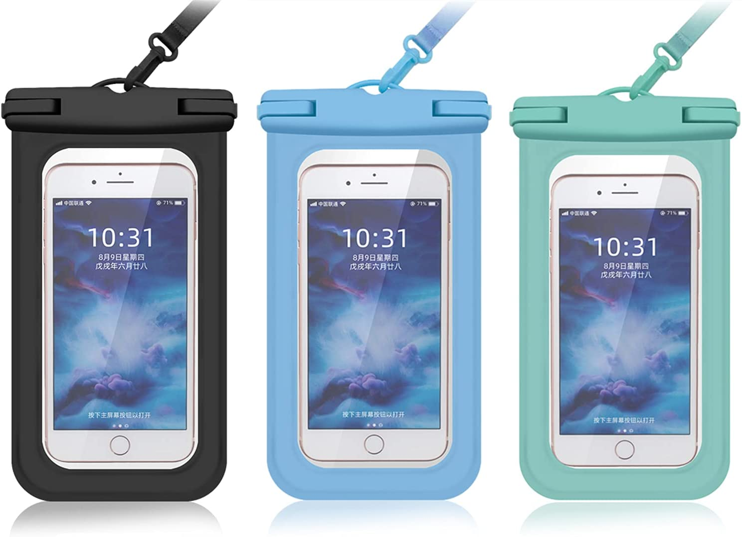 Sanpeng Universal Waterproof Phone Case Pouch, 3 Pack Both Sides Clear Dry Bag, 6.8 Inch Waterproof Phone Pouch, Compatible with iPhone 12/11 Pro/Max/XS Max/XR/X, Galaxy S21/20/Note 20/10 up to 6.8
