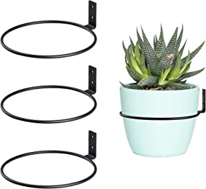 6 inch Flower Pot Holders for Outside,3 Pack Heavy Duty Flower Pot Ring Wall Bracket for Plant Pots Indoor Outdoor,Black