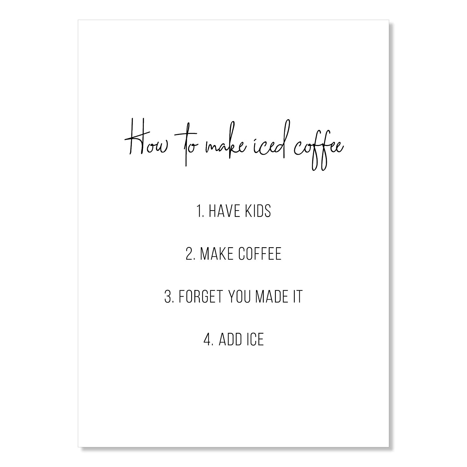 How to Make Iced Funny 5 Super sale period limited ☆ very popular Print Unframed Coffee