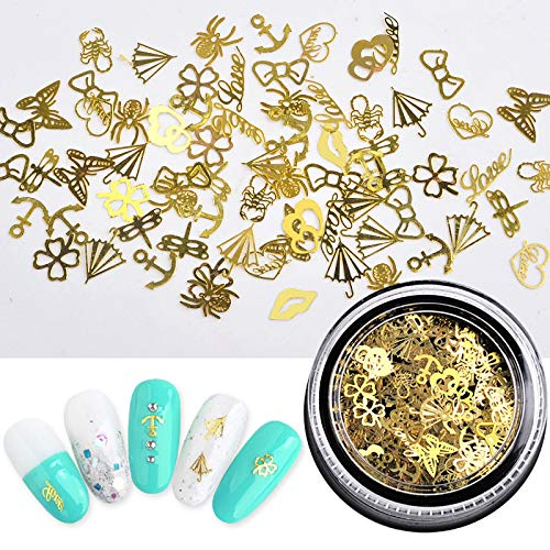 Christmas Nail Stickers - 3D Metal Design Self-Adhesive Nail Decals Nail Art Stickers Tips Stencil DIY Decoration for Women Kids