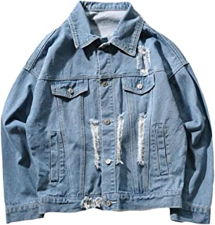 08d40b6a38097 Suncolor8 Mens Button Up Plus Size Distressed Loose Fit Ripped Denim  Trucker Jacket Coat