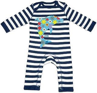 HARIZ HARIZ Baby Strampler Streifen Delfin Blume Tiere Kindergarten Inkl. Geschenk Karte Navy Blau/Washed Weiß 3-6 Monate