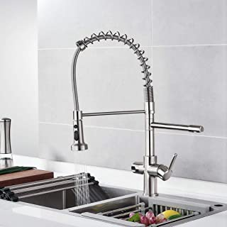Contemporary Kitchen Sink Faucet Brushen Nickel Single Hole Kitchen Faucet with Pull Down Sprayer Dual Handle 3 in 1 High Arc Water Filter Purifier Faucets