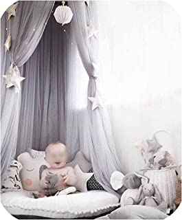 sunshine-xj Kid Bedding Mosquito Net Romantic Round Bed Mosquito Net Bed Cover Pink Hung Dome Bed Canopy for Kids Bedroom Nursery,Gray