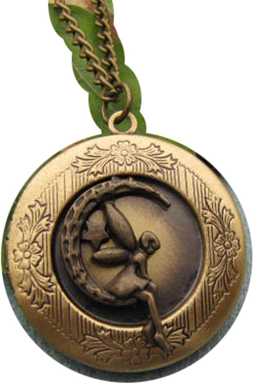2Pcs Bronze Angel Locket Necklace -Fairy Locket Necklace -Moon Star Locket Necklace