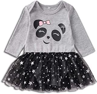 HAPPYMA Newborn Infant Baby Girls Clothing Long Sleeve Cotton Panda Dress with Star Print Gauze Skirt OneSize Outfits