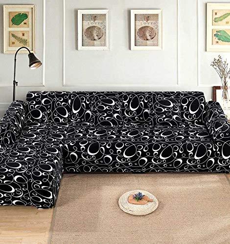 Funda de sofá Funda de sofá elástica Funda de sofá para Sala de Estar Funda de sofá de Esquina en Forma de L Chaise Longue A19 3 plazas