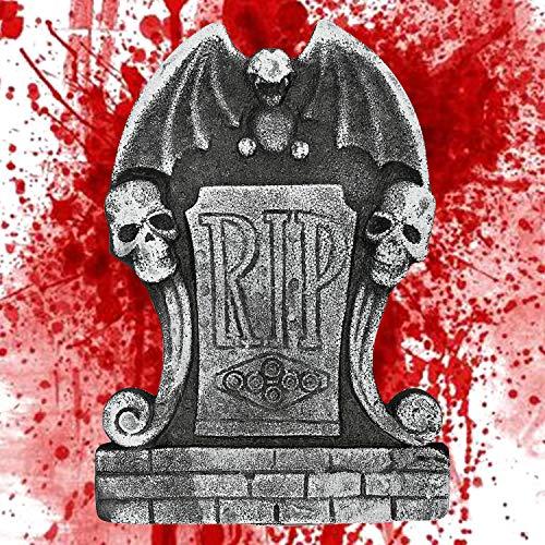 Decoración de lápida de Espuma de Halloween Tumba Rip Cráneo de Piedra de la casa encantada Lápida decoración de Cementerio de casa embrujada Cementerio Lápidas para Halloween 38 * 26,5 * 2 CM