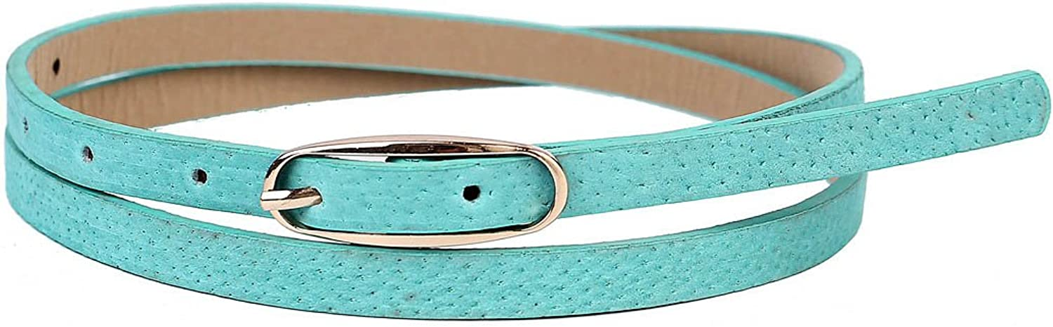 Damara Womens Simplicity Skinny Oval Metal Buckle Faux Leather Belt