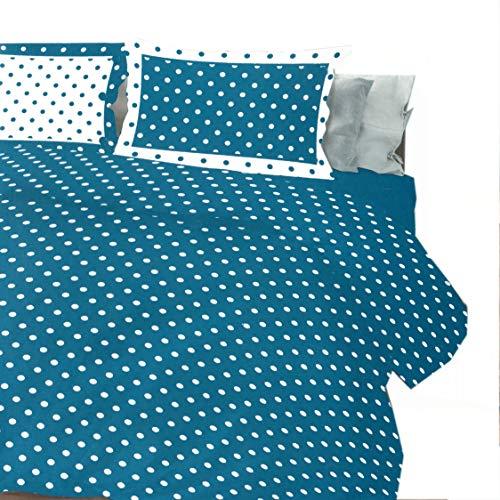 Juego de funda nórdica 100% algodón para cama de matrimonio de 2 plazas, reversible con lunares (octano)