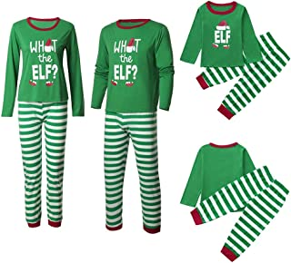 Christmas Family Matching Pajama, Green and White Striped Elf Pajama Holiday Pj Sets
