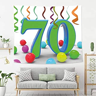 Wall Tapestry Wall Hanging 70th Birthday Decorations House Party Theme Colorful Balloons Curls Fun Image Fern Green and Blue Tapestry, Living Room Bedroom Decoration Tapestry, Mattress, Tablecloth
